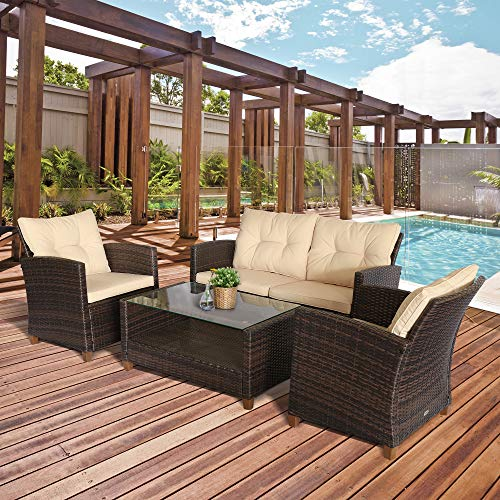 Outsunny 4 Piece Rattan Garden Sofa Set with Cushions