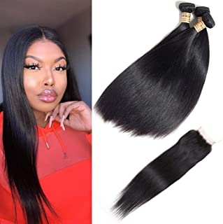 9A Quality Malaysian Straight Virgin Hair 3 Bundles With Lace Closure Grace Unprocessed Straight Human Hair Weave With Closure Free Part (12 14 16 with 10inch Closure)