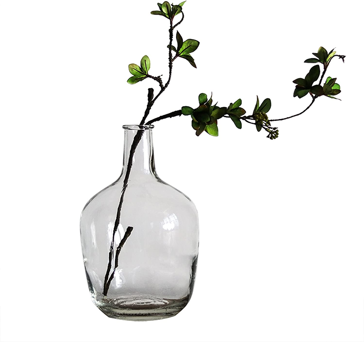 BUICCE Handbrown Transparent Glass Vases for Decor Large Bubble Vintage Floor Vase Clear for Branches Faux Artificial Flowers Tabletop Kitchen Home Indoor Decoration.