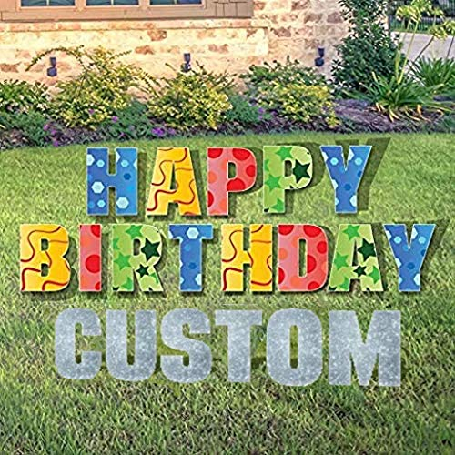 VictoryStore Custom Happy Birthday Yard Sign - Happy Birthday Letters Custom Name 26 Short Stakes Plus Short Stakes for Name Included, Confetti (English)