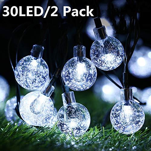 Solar Lichterkette Aussen Kaltweiß, BrizLabs 2 Pack 30 LED Kugeln Kristall 8 Modi Außenlichterkette Wasserdicht Kristallbälle Beleuchtung für Garten Terrasse Bäume Balkon Haus Party Weihnachten Deko