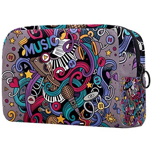 Bolsa de maquillaje personalizada para brochas de maquillaje, bolsa de aseo portátil para mujer, organizador de viaje, diseño musical de notas de piano