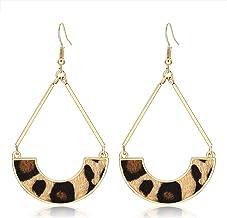TIKCOOL Leopard Leather Earrings for Women Fur Leather Hoop Earrings Leather Drop Dangle Earrings