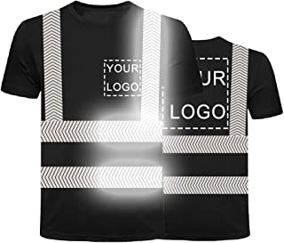 Hi Vis T Shirt with Reflective Strip High Visibility Safety T Shirts Custom Your Logo Short Sleeve Outdoor Work Shirts