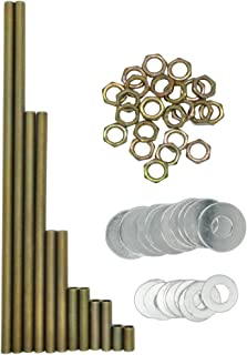 Lamp Rod,All Thread Lamp Pipe,Lamp Repair Assortment of Hardware,Yellow Zinc Coated, Includes 12
