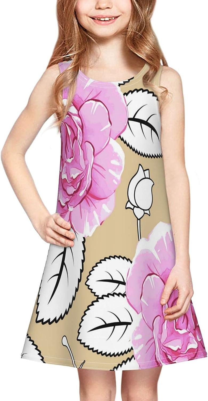 Pink Roses Girl Sleeveless Dress,Beautiful Blossom Flower Rose Floral Beige Casual Crew Neck Girls Sundress 2-6 Years