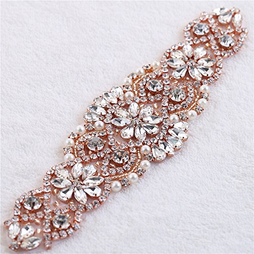 Rose Gold Crystal Rhinestone Applique Patch with Beaded Pearls Embellishments Sew Iron on Hot Fix for Bridal Wedding Dress Sash Belt Garters Headpieces