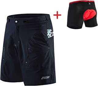 bpbtti Mens Baggy MTB Mountain Bike Shorts with Removable Biking Bicycle Cycling 3D Padded Liner Short