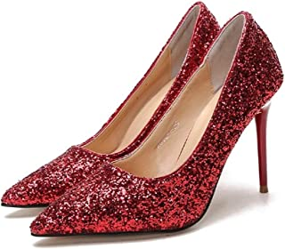 THE LONDON STORE Women's Shoes High-Heeled Shallow Mouth Pointed Sparkle Sequins Sexy Thin Nightclub High-Heeled Pumps