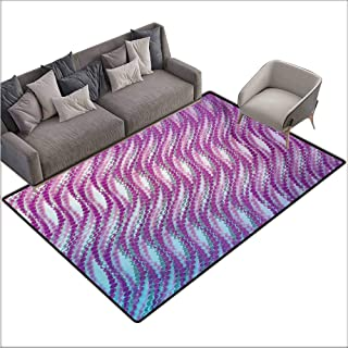Children's Rug Modern Abstract Design with Bubble Like Wavy Circled Lines Absured Design Art Print All Season General W70 xL82 Purple and White