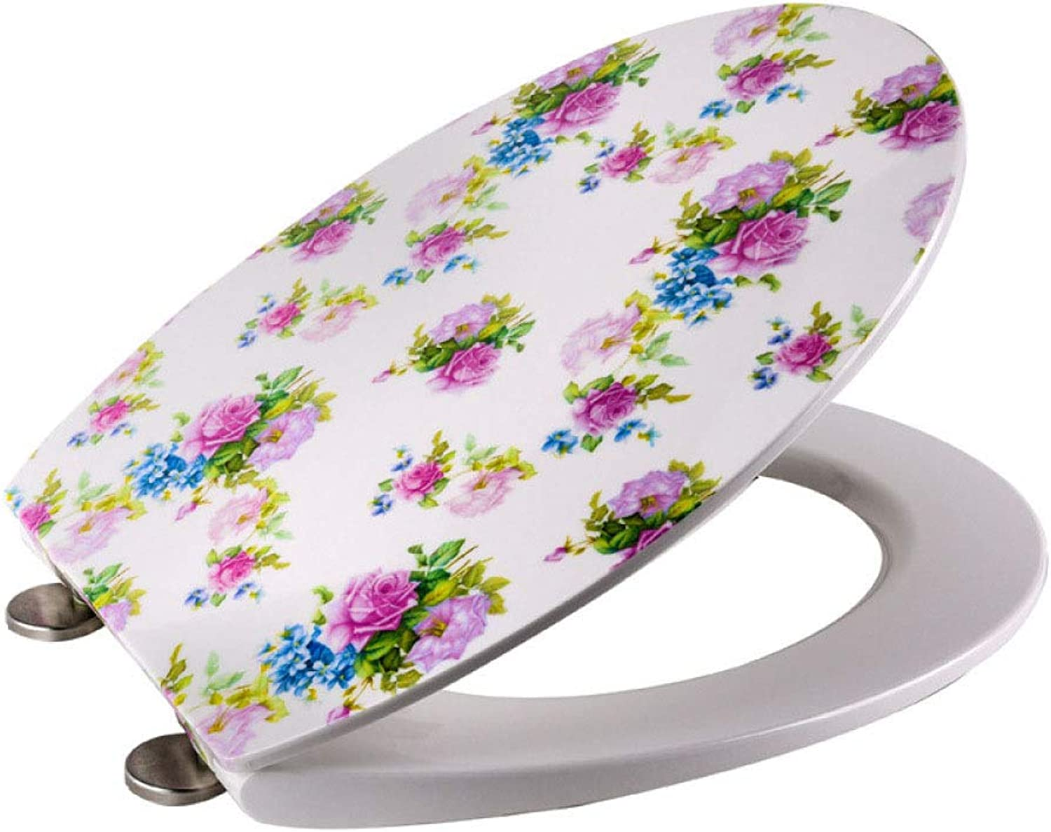 Toilet lid, Ultra-Thin pink Decal O Shape Compatible Toilet Seat Drop Mute Antibacterial Adjustable Top Mounted Toilet Lid