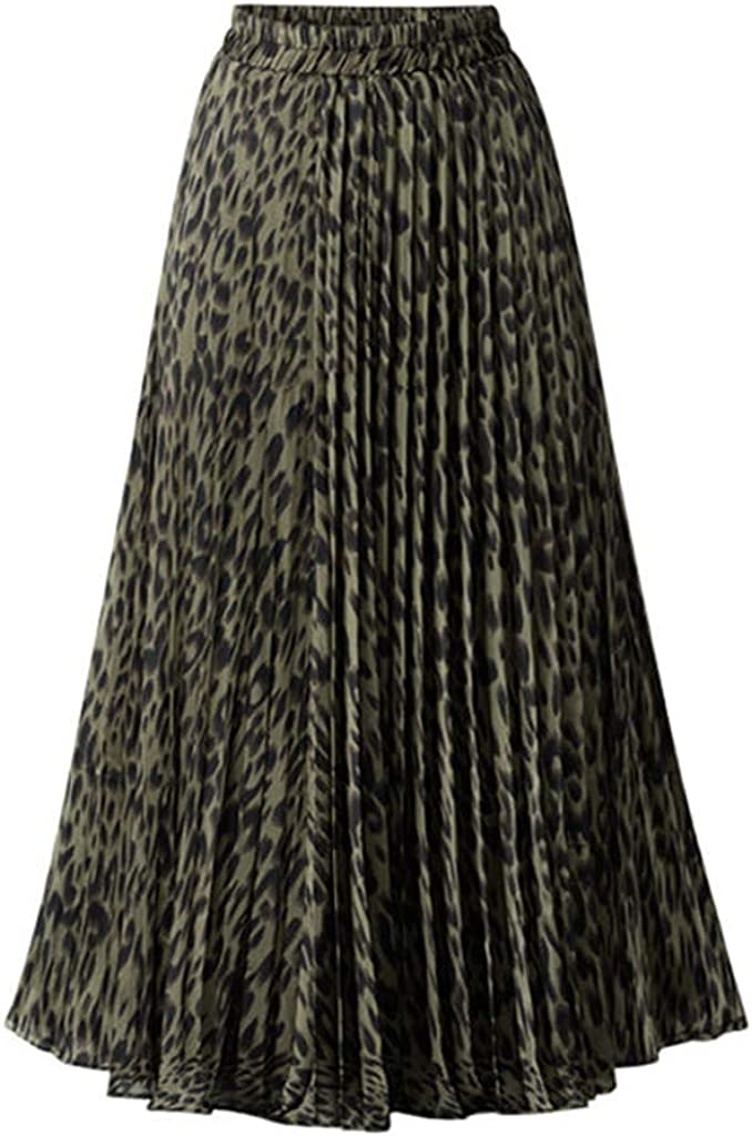 Gergeos Women Pleated Skirts Fashion Leopard Printed Chiffon Ankle-Length Skirts for Evening Party