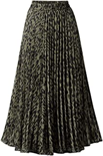 Womens Chic Elastic High Waisted A Line Leopard Print Pleated Shirring Midi-Long Skirt