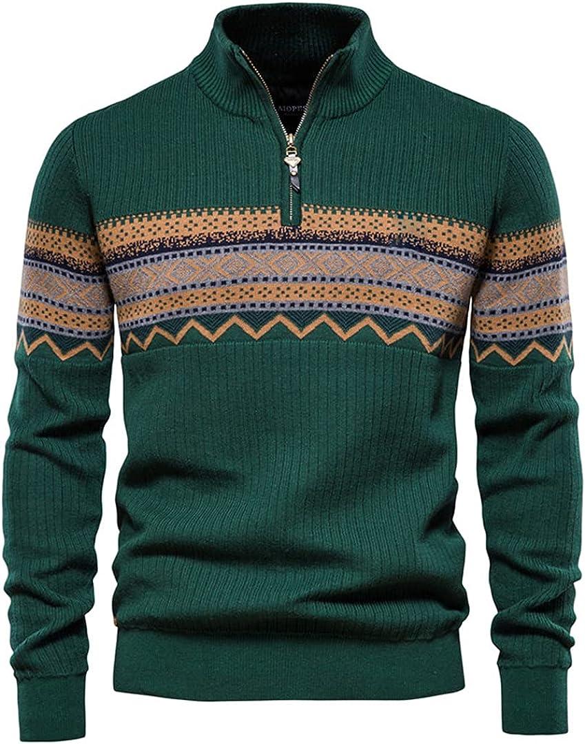 Kteret Men Zipper Mock Neck Sweater Casual Spliced Pullovers Winter Warm Sweater