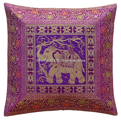 DK Homewares Tradicional 16 x 16 Navidad Púrpura Funda De Almohada Jacquard Brocado Floral Decoración del Hogar Elefante Cuadrado Funda De Almohada (40x40 Cm ; Púrpura) -1 PC
