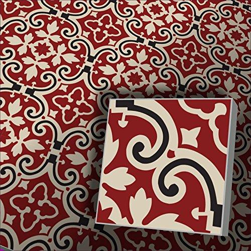 1m² Zementfliesen orientalische Fliesen Fingran creme rot schwarz