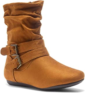 Lindell Women's Fashion Flat Heel Calf Boots Side Zipper Slouch Ankle Booties