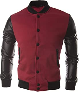 Beautymade Cool Mens Wine Red Baseball Jacket Autumn Slim Black Pu Leather Sleeve Bomber Jacket Varsity