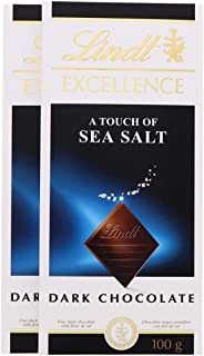 LINDT CHOCOLATE EXCELLENCE SEA SALT 100 GM (Pack of 2)