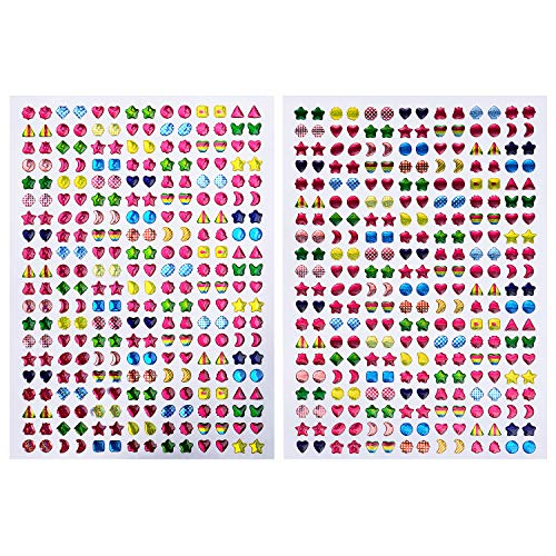 IKWOLETI Stick on Earrings for Girls 3D Gem Stickers Glitter Sparkle Self-Adhesive Glitter Craft Crystal Stickers (10 Sheets)