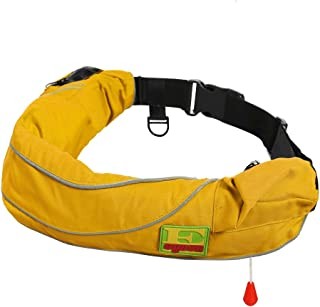 Premium Quality Manual Inflatable Belt Pack PFD Waist Inflate Life Jacket Lifejacket Vest SUP Survival Aid Lifesaving PFD with Zippered Storage Pocket for Adult New