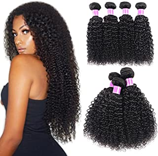 Tixiyu Golvende Menselijk Haar Pruik, 100% Onverwerkte Virgin Braziliaanse Diepe Krullend Haar Weave Bundels, Wave Bundels...