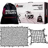 "ROCKET STRAPS Cargo Net | 4'x6' Bungee Net Stretches to 8'x12' | Truck Bed Net Includes (12) Steel Carabiners & Bag | Heavy Duty 5mm 3""x3"" Mesh | Bonus 16'x16' Motorcycle and Bike Net | (2) Cargo Nets"