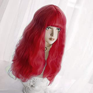 Long Wavy Wig Bangs - Natural Synthetic Hair Lolita Wig with Wig Cap For White Women Cosplay and Daily Wear (Red)