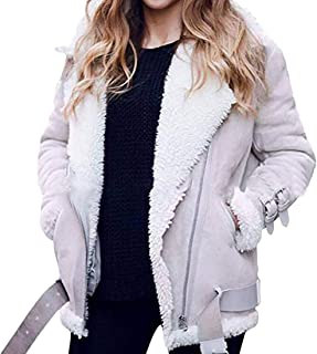 UUYUK Women Outwear Sherpa Lined Suede Zipper Motorcycle Biker Lapel Coats