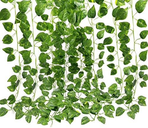Kdrirad 12 Hilos (83 pies) Ivy Garland Artificial Faux Ivy Leaf Fake Plant Vine Decoration para el Banquete de Boda Garden Wall Decoration