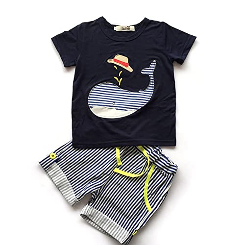 5e0b46d051a3 Evelin LEE Baby Boy Short Sleeve T-Shirts and Stripe Shorts 2pcs Set Clothes