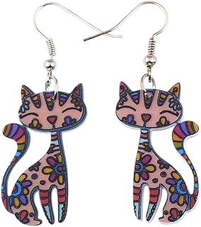 """Bonsny Acrylic Long Drop Dangle Cat Earrings """"CAYLEIGH Statement Pop-Art Kitten Gift Girl Women"""