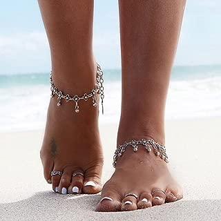 Pulsera de Cadena de Tobillera de Moda para Mujer con Estilo Simple cuelga Tobillera Chica Encanto Pulsera de Tobillo Pulsera de Cadena de pie de Tobillo