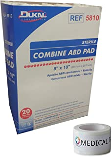 Sterile 8x10 Sterile Abdominal (ABD) Combine Pads Pack of 20 + 1 Roll of Vakly Medical Tape (1)
