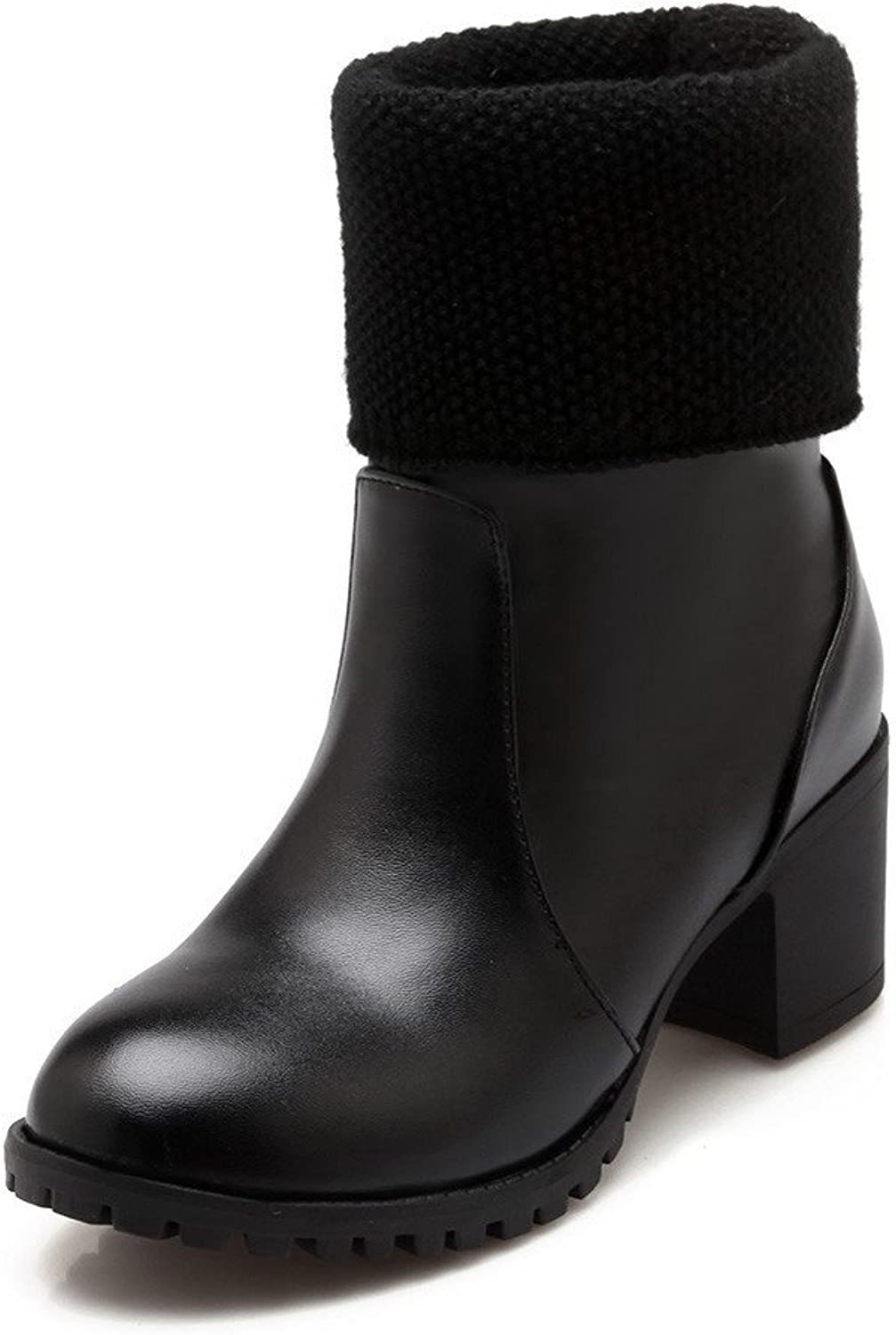 AmoonyFashion Women's Solid Closed Round Toe Blend Materials PU Low Top Boots