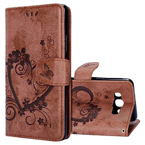 KunyFond 3D Amour Fleur Motif Etui PU Cuir Housse Portefeuille Relief Portable Dragonne Leather Case Wallet Fonction Stand Bumper Shell Couverture Coque Compatible Samsung Galaxy J5 2016 J510-Brown