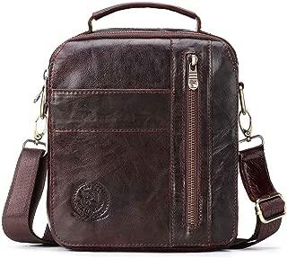 Leather Bag Mens Multifunctional Men's Bag Fashion Retro Single Shoulder Bag Men's Business Zipper Slant Bag High Capacity (Color : Brown, Size : S)