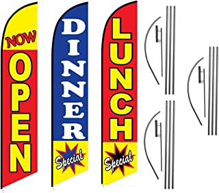 Lunch Dinner Special Now Open Restaurant Advertising Feather Flag Kits Package, Includes 3 Banner Flags, 3 Flag Poles, and 3 Ground Stakes