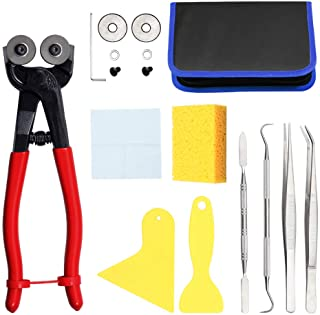 SPEEDWOX 17PCS Mosaic Tools for Crafts Heavy Duty Mosaic Wheeled Glass Nipper with Replacement Cutting Wheel Scrapers Twee...