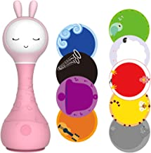 alilo Smarty Bunny Newborn Toy Rattle Girl Music Player Kid Dumbbell Color Learning Toys (Pink)