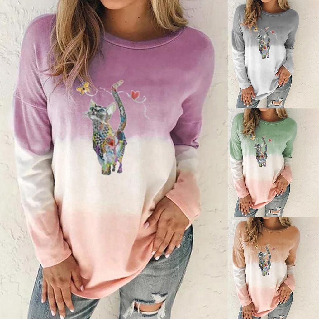AODONG Women Sweatshirt Pullover,Womens Long Sleeve Colorblock Sweatshirt Tie Dye Printed Loose Pullover Sweatshirt Tops