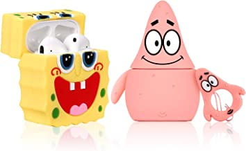 Lupct (Spongebob & Patrick) Case for Airpods 1/2 Cute Soft Silicone, Cartoon 3D Fun Animal Pattern Cover for Girls Kids Teens Character Design Airpod Funny Cases for Air pods (2 Pack)