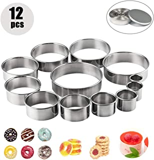 12pcs Stainless Steel Cookie Biscuit Cutters, Round Mousse Ring Mold for Muffins Crumpets Donuts Scones Empanada Icing Pastry Sugarcraft Cake Decoration