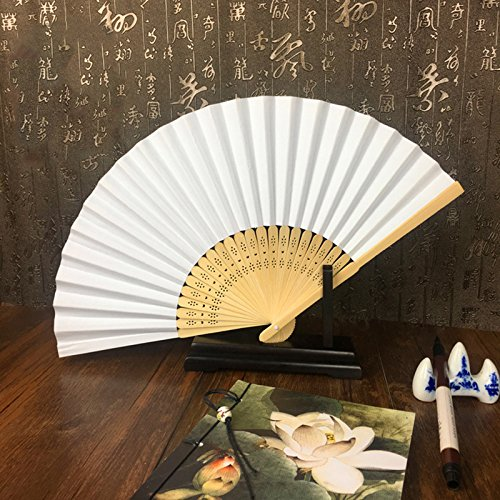 TOOGOO 50pzs /lote Blanco Abanico de mano papel elegante plegable Favo