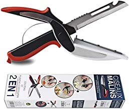 Clever Cutter 2-In-1 Vegetable Chopper Salad Cheese Cutters Kitchen Shears Vegetables Slicer Stainless Steel Food Knife Portable Scissors for Camping Trips BBQ Picnic