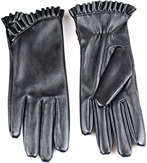 SGJFZD Winter Gloves PU Leather Touch Screen Driving Gloves for Women Thermal Windbreak Gloves (Color : Black, Size : OneSize)