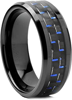 Black Men`s Tungsten Carbide Wedding Band with Black and Blue Carbon Fiber Inlay, 8mm Sizes 7 to 13