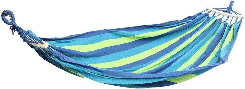 Double 2 Person Hammock Green Fabric Air Hanging Swinging Outdoor Camping Hammock