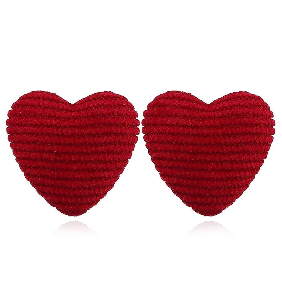 腐食する混乱した責hamulakfae-ファッション愛の心の女性ストライプ生地ボタン耳スタッドピアスパーティージュエリー - レッド