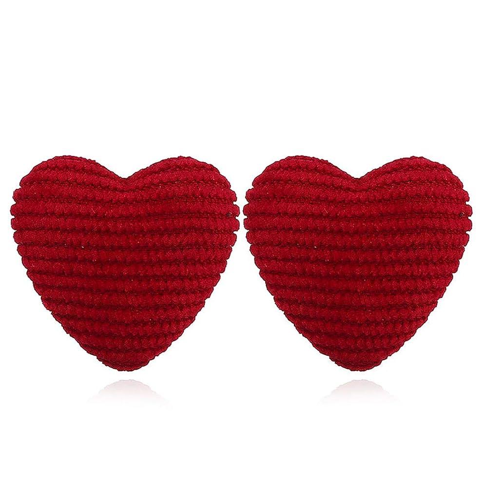 冷蔵する発行混沌hamulakfae-ファッション愛の心の女性ストライプ生地ボタン耳スタッドピアスパーティージュエリー - レッド